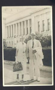 RPPC HAVANA CUBA CAPITOL 1936 COUPLE PRETTY WOMAN REAL PHOTO POSTCARD