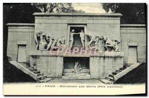 Old Postcard Paris Monument to Pere Lachaise Dead