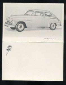1951 PLYMOUTH TWO DOOR SEDAN VINTAGE CAR DEALER FOLDOUT ADVERTISING POSTCARD /51