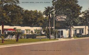 Lake City Florida~Mid-Town Motel~Roadside US 41~1950 Linen Postcard