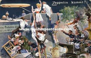 Artist Signed Thiele, The Arrival of the Zeppelin (1909)