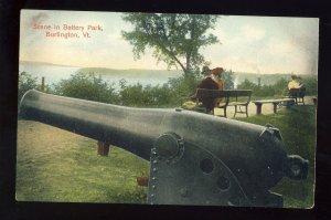 Burlington, Vermont/VT Postcard, View Of Cannon In Battery Park