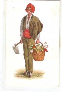 ·J. IBAÑEZ..Caricature. Catalan character. Tofu  Vintage Spanish postcard