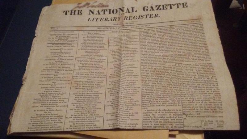 1822 NEWSPAPER THE NATIONAL GAZETTE - $150 or best offer
