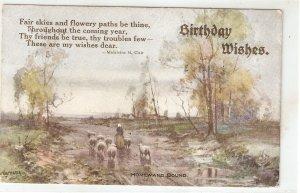 Shepherdess with flock. Homeward bound  Vintage English Birthday Greetingsd PC