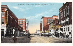 C31/ Muskogee Oklahoma Ok Postcard c1915 Broadway West Second Stores Autos