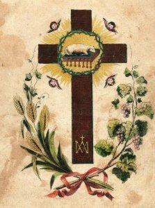 1880s Religious Lith & Kunsth German Cross Lamb P222