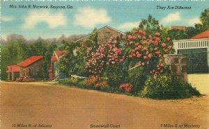AA Cottages roadside Smyrna Georgia Norwick 1940s Postcard Colorpicture 7452