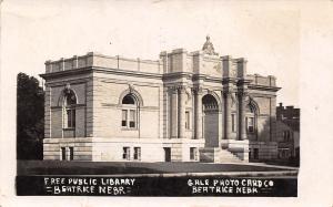 Beatrice NE Unusual Beaux Arts Carnegie Library~Ornate Arches RPPC 1909 Postcard
