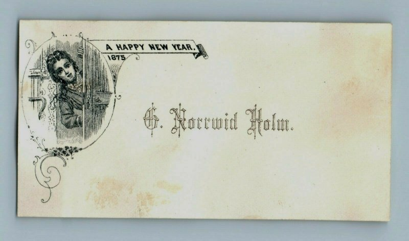 1875 New Year's Card Lovely Young Lady Looking Out Door Fab! P161