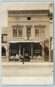 Postcard IL Peru Brucker's Hotel And Cafe Bakery RPPC Real Photo c1910s AD8