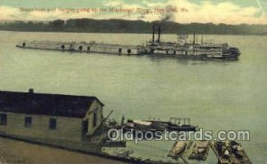 Steamboat And Barge Going Up Mississippi, Hannibal Mo. USA Ferry Boats, Ship ...