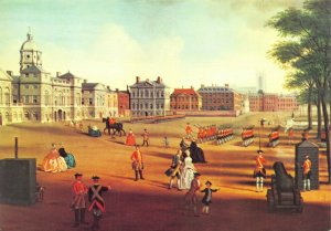 London Art Postcard, The Horse Guards Parade (c1750) attr. to John Chapman 91X