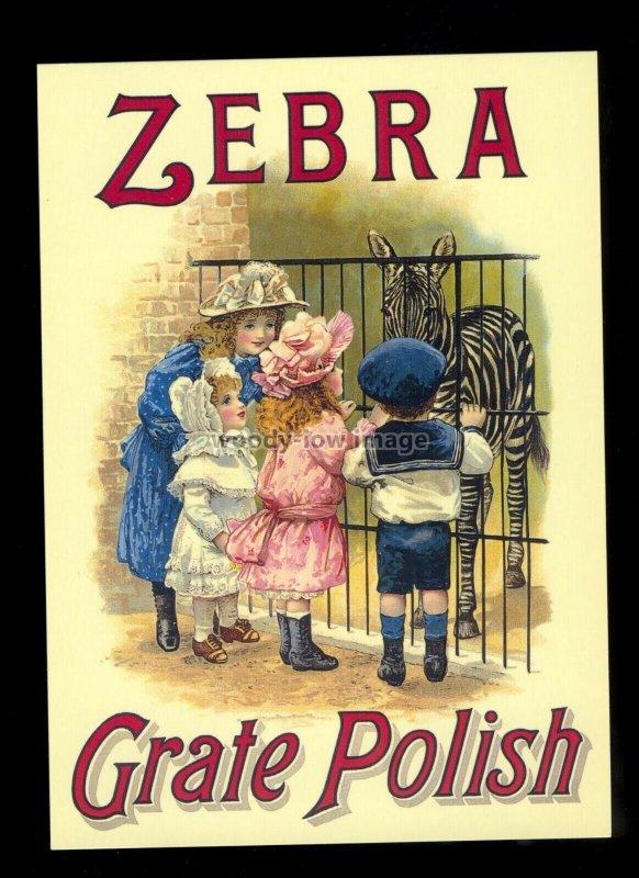 ad4225  - Zebra Grate Polish - Children at the Zoo -  Modern Advert postcard