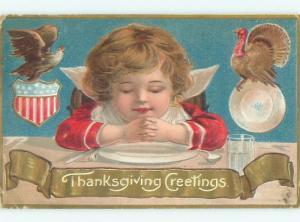 Pre-Linen thanksgiving patriotic EAGLE ON SHIELD PLUS CHILD & TURKEY W7041
