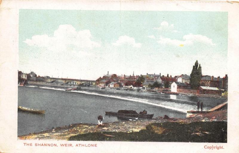 Vintage Postcard The River SHANNON The Weir ATHLONE Leinster IRELAND