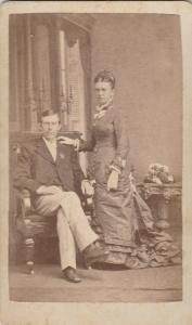 Independence IA Ensminger Bros CDV 1870s Couple~Layered Skirt~Art Nouveau Table