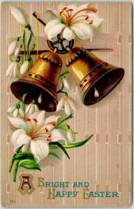 1910s Greetings Postcard Gold Bells / Lily Flowers A Bright and Happy EASTER