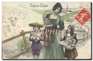 Old Postcard Fantaisie Kids Easter