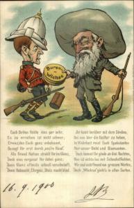 South Africa Boer War Comic German Poem Pith Helmet 1900 Postcard