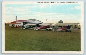 Postcard MD Hagerstown Kreider Reisner Aircraft Company Airport Biplanes S5