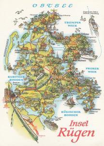 Insel Ruegen Rugen Baltic Sea Ostsee Trains German Germany Map FDC Ship Postcard