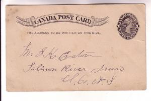 Canada Post Card 1 Cent Victoria, Black Stationery, 1898,  Note from Camden N...