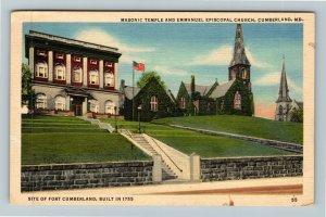Cumberland MD-Maryland, Masonic Temple Emmanuel Episcopal Church, Linen Postcard