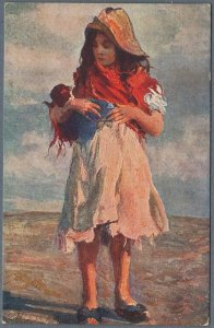 Old Postcard Poor Rural Girl With a Rag Doll by Beppe Cardi