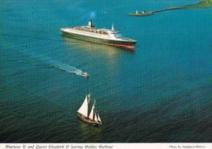Canada Nova Scotia Bluenose II and Queen Elizabeth II Leaving Halifax Harbor