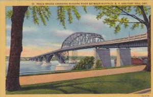 New York Buffalo Peace Bridge Across Niagara River Curteich
