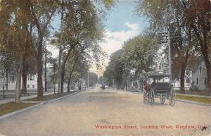 Mendota Illinois~Washington Street Homes Looking West~Horse Buggy~1910 PC
