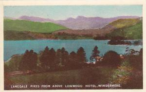 Langdale Pikes from above Lowwood Hotel, Windermere, Cumber, England, United ...