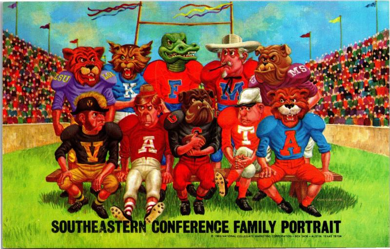 Southeastern Conference Family Portrait, c1969 Collegiate Teams Vtg Postcard G12