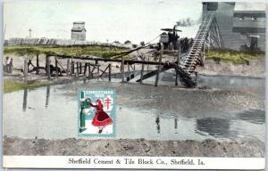 Sheffield, Iowa Postcard Cement & Tile Block Co. w/ 1935 Xmas Seal on Front