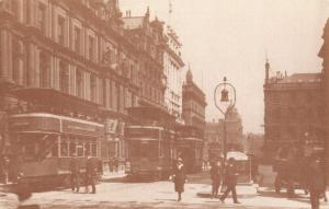 Postcard 1914 Trams in St. Vincents Place GLASGOW Scotland Reproduction Card
