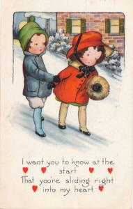 Valentine Greetings - You are Sliding into My Heart - Whitney Made - pm 1921 DB