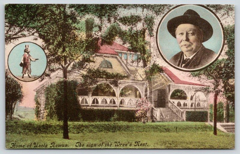 Atlanta Georgia~Wren's Nest~Joel Chandler Harris & Rabbit Insets~1920s Handcolor