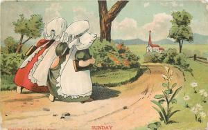 Sunbonnet Girls~Sunday~Carry Bibles~Church~Days Of The Week~Emboss~H I Robbins