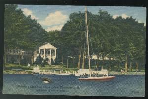 Lake Chautauqua NY Women's Club Sailboat 1947 Curteich Vintage Linen Postcard