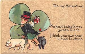 To My Valentine Signed Curtis Pigs Hobo Boy Raphael Tuck Postcard