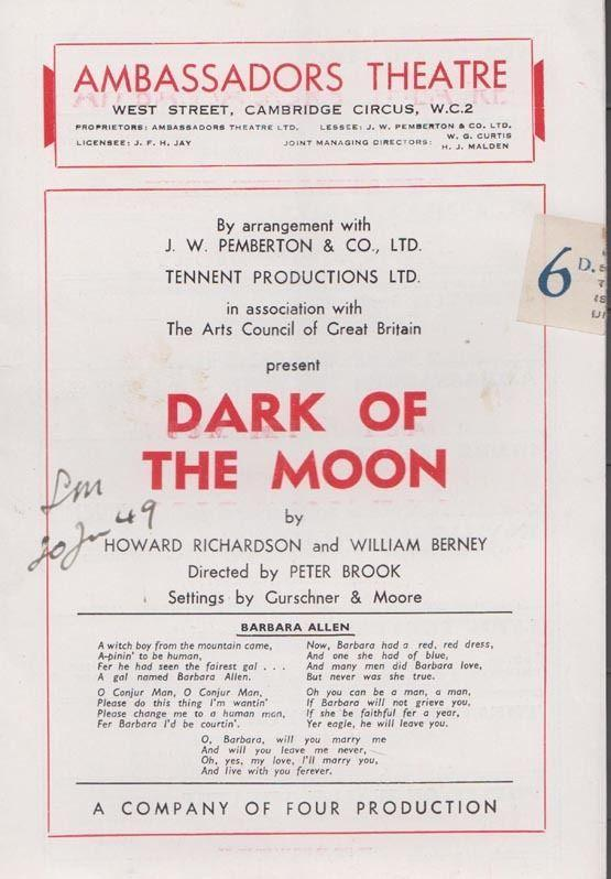 Dark Of The Moon Sandra Dorne Joan Young London Ambassadors Theatre Programme
