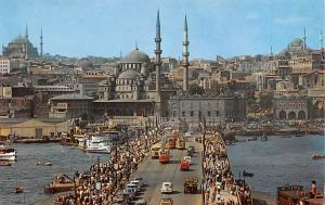Turkey Old Vintage Antique Post Card New Mosque seen from Galata Bridge Istan...