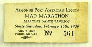 1930s Mad Dance Marathon Martin's Dance Pavilion NY Ticket Original F77