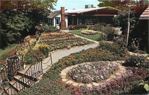Dover OH~Up Steps Through Mrs. Warther's Swiss Flower Garden~1960 Postcard