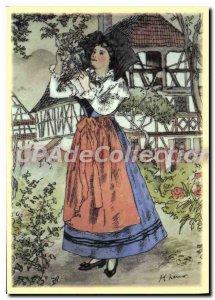 Modern Postcard Henri Loux Alsace Catholic woman Kochersberg