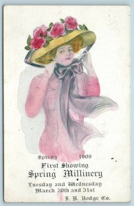 Postcard Advertising First Showing Spring 1909 Millinery Fashion Hodge Co D4