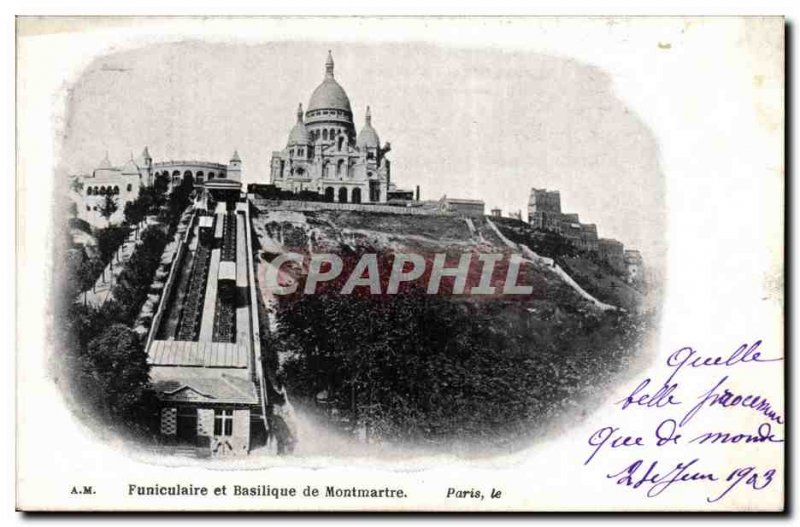 Paris - 14 - Montmartre Funicular and Basiique 1903 - Old Postcard