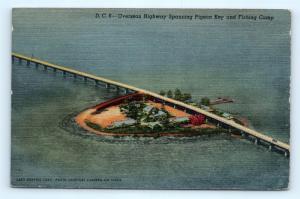 Postcard FL Pigeon Key Overseas Highway Fishing Camp Vintage Linen E21
