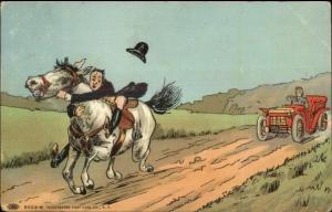 Early Car Follows Man Hanging onto Horse For Dear Life c1910 Postcard rpx